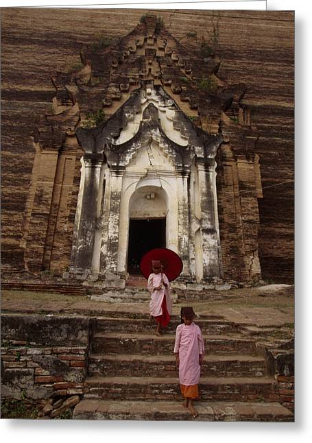 Indochinese Architecture And Art Greeting Cards - Young Burmese Girls Emerge Greeting Card by Paul Chesley