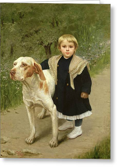 Hound Hounds Greeting Cards - Young Child and a Big Dog Greeting Card by Luigi Toro