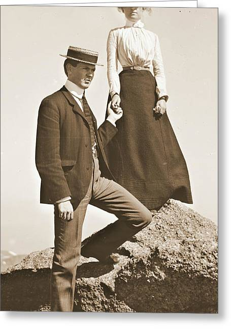 Young Couple Sepia 1915 Greeting Card by Padre Art