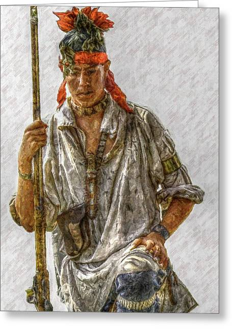 French And Indian War Greeting Cards - Young Delaware Indian Portrait  Greeting Card by Randy Steele