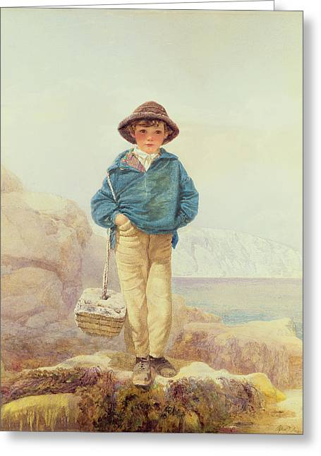 Young Boy Greeting Cards - Young England - A Fisher Boy Greeting Card by Alfred Downing Fripp