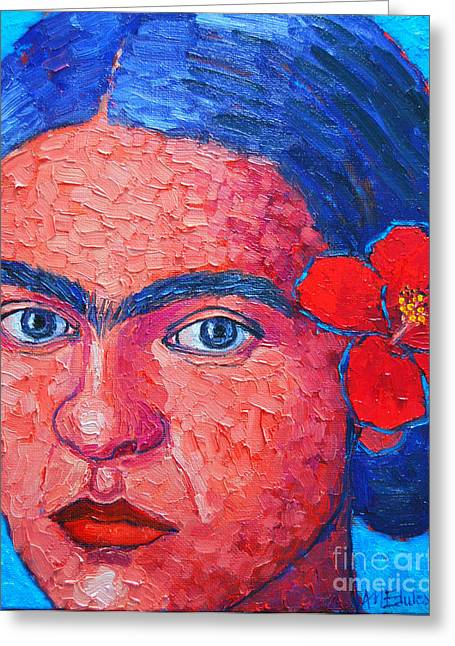 Eyebrow Greeting Cards - Young Frida Kahlo Greeting Card by Ana Maria Edulescu