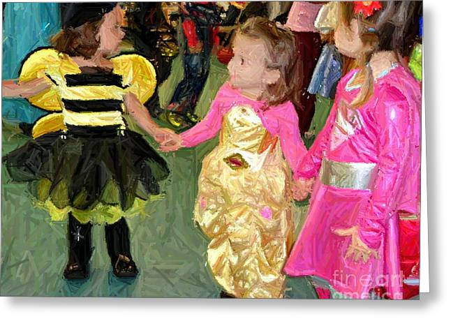 Dancing Girl Greeting Cards - Young friends Greeting Card by RL Rucker