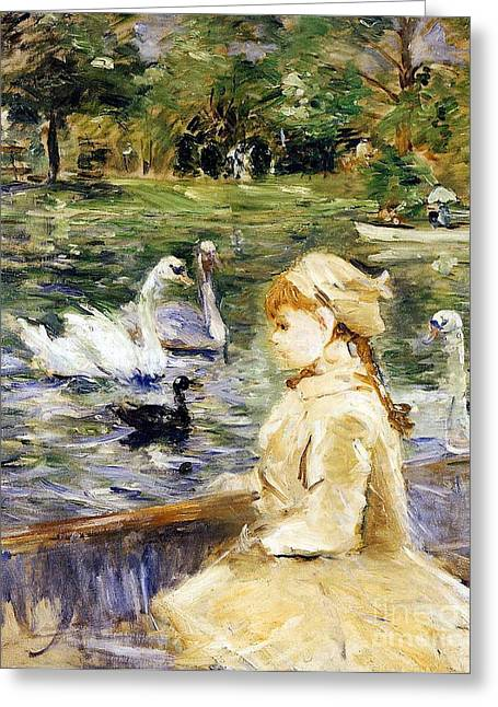 Swans... Greeting Cards - Young girl boating Greeting Card by Berthe Morisot