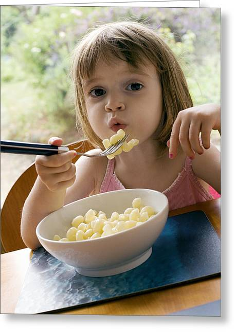 Consume Greeting Cards - Young Girl Eating Pasta Greeting Card by Ian Boddy