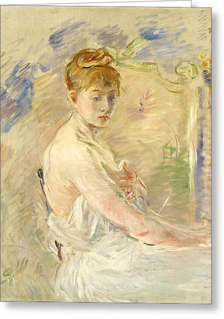 Berthe (1841-95) Greeting Cards - Young Girl Getting Up Greeting Card by Berthe Morisot