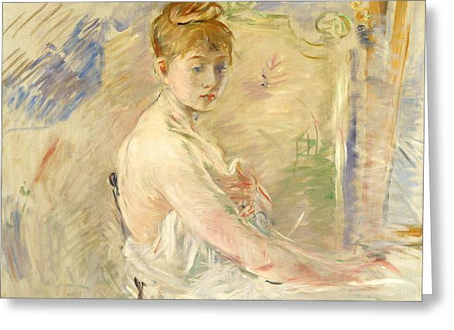 Young Girl Getting Up Greeting Card by Berthe Morisot