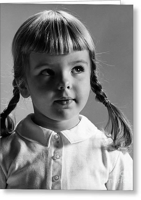 1950s Portraits Greeting Cards - Young Girl Greeting Card by Hans Namuth and Photo Researchers