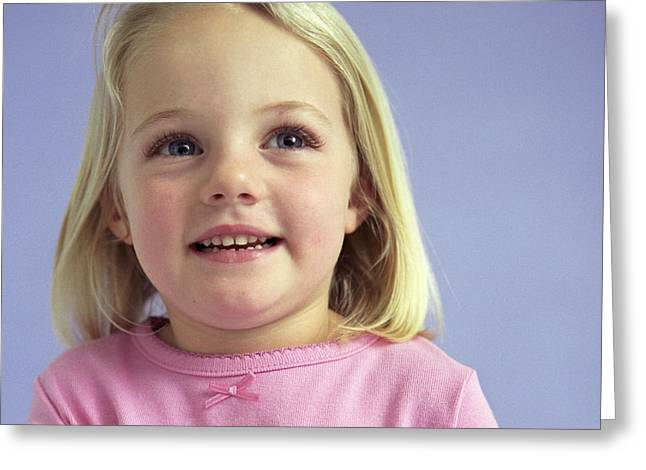 3 Year Old Girl Greeting Cards - Young Girl Greeting Card by Ian Boddy