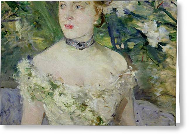 Young girl in a ball gown Greeting Card by Berthe Morisot