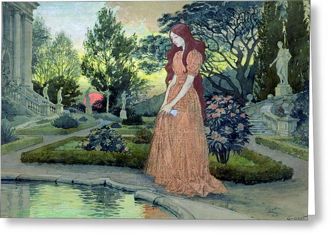 Young Girl In A Garden  Greeting Card by Eugene Grasset