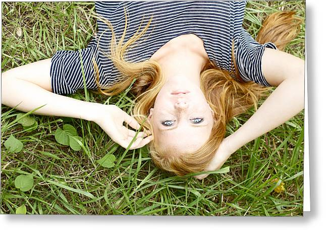 Young Girl On Grass Greeting Card by Kicka Witte