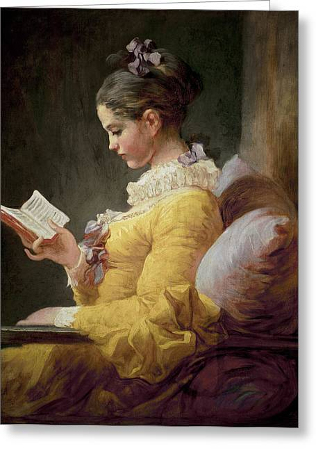 Ribbon Greeting Cards - Young Girl Reading Greeting Card by JeanHonore Fragonard