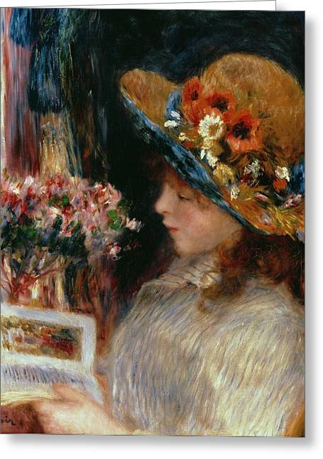 Best Sellers -  - Youthful Greeting Cards - Young Girl Reading Greeting Card by Pierre Auguste Renoir