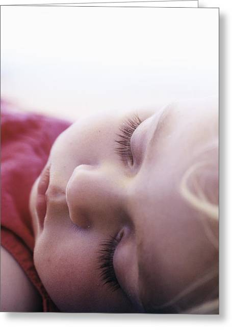 Sleeping Face Greeting Cards - Young Girl Sleeping Greeting Card by Cristina Pedrazzini