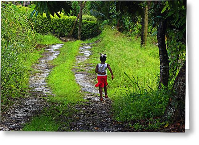 Red Skirt Greeting Cards - Young Girl- St Lucia Greeting Card by Chester Williams