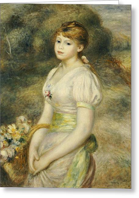 Young Lady Greeting Cards - Young Girl with a Basket of Flowers Greeting Card by Pierre Auguste Renoir