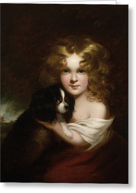 Blonde Girl Greeting Cards - Young Girl with a Dog Greeting Card by Margaret Sarah Carpenter