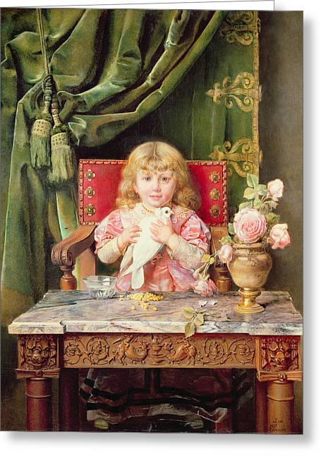 1901 Greeting Cards - Young girl with a dove   Greeting Card by Ignacio Leon y Escosura