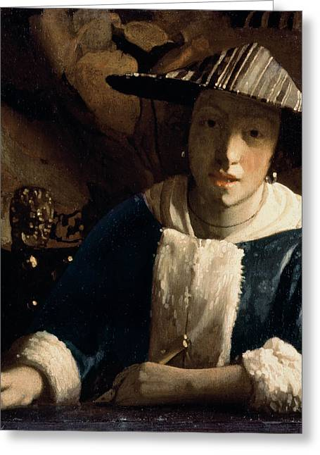 Vermeer Paintings Greeting Cards - Young Girl with a Flute Greeting Card by Jan Vermeer