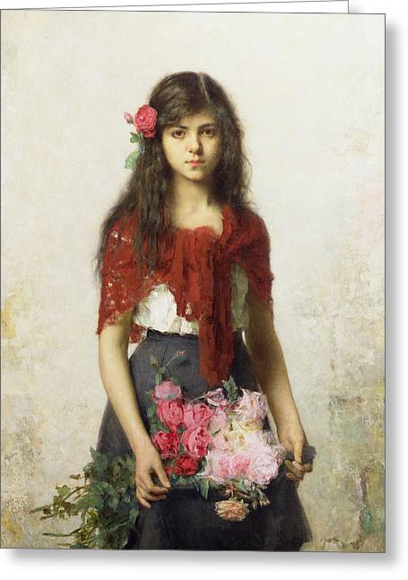 Roses Paintings Greeting Cards - Young girl with blossoms Greeting Card by Alexei Alexevich Harlamoff