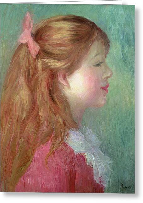 Girl In Dress Greeting Cards - Young girl with Long hair in profile Greeting Card by Pierre Auguste Renoir
