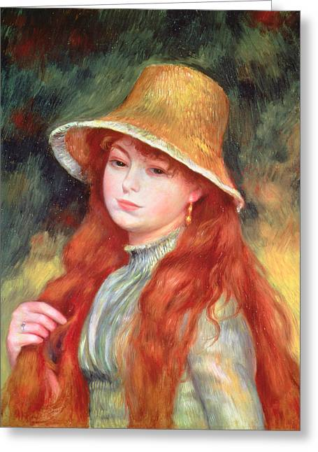 Daniel Paintings Greeting Cards - Young Girl with Long Hair Greeting Card by Pierre Auguste Renoir
