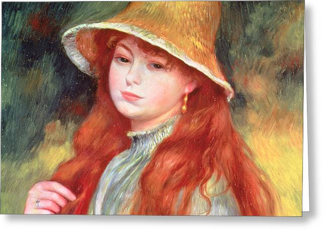 Young Girl with Long Hair Greeting Card by Pierre Auguste Renoir