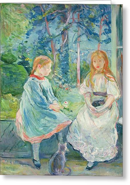 Berthe Paintings Greeting Cards - Young Girls at the Window Greeting Card by Berthe Morisot