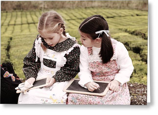 Miguel Drawing Greeting Cards - Young girls doodling Greeting Card by Gaspar Avila