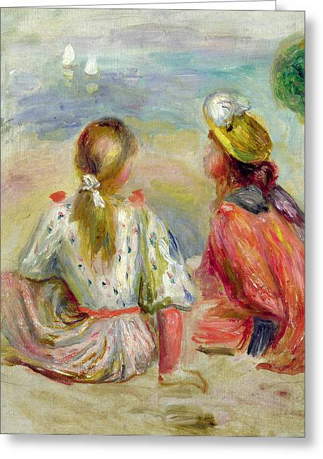 On The Beach Greeting Cards - Young Girls on the Beach Greeting Card by Pierre Auguste Renoir