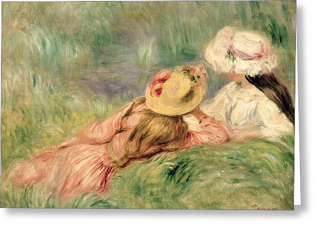 Summer Dresses Greeting Cards - Young Girls on the River Bank Greeting Card by Pierre Auguste Renoir