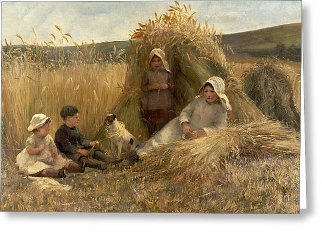 Lionel Greeting Cards - Young Harvesters Greeting Card by Lionel Percy Smythe