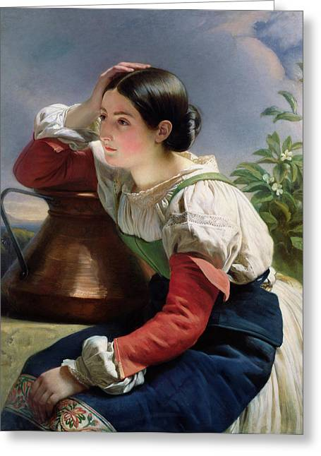 Water Jug Greeting Cards - Young Italian at the Well Greeting Card by Franz Xaver Winterhalter