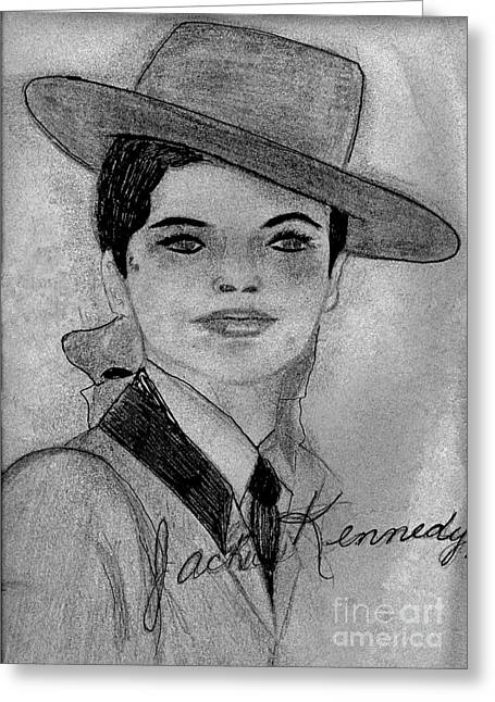 First-lady Mixed Media Greeting Cards - Young Jackie Kennedy Greeting Card by Sonya Chalmers