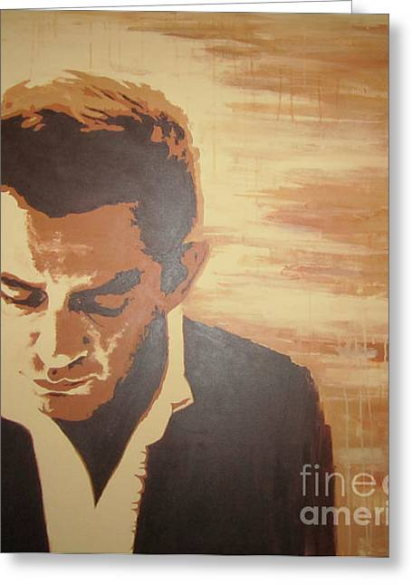 Original Paining Greeting Cards - Young Johnny Cash Greeting Card by Ashley Price