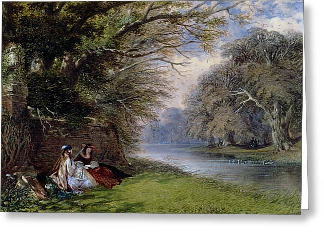 Water Flowing Paintings Greeting Cards - Young ladies by a river Greeting Card by John Edmund Buckley