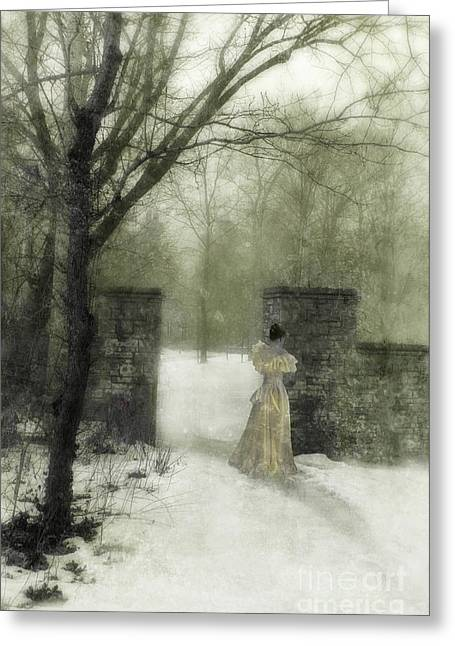 Young Lady Photographs Greeting Cards - Young Lady by Stone Pillar in Snow Greeting Card by Jill Battaglia