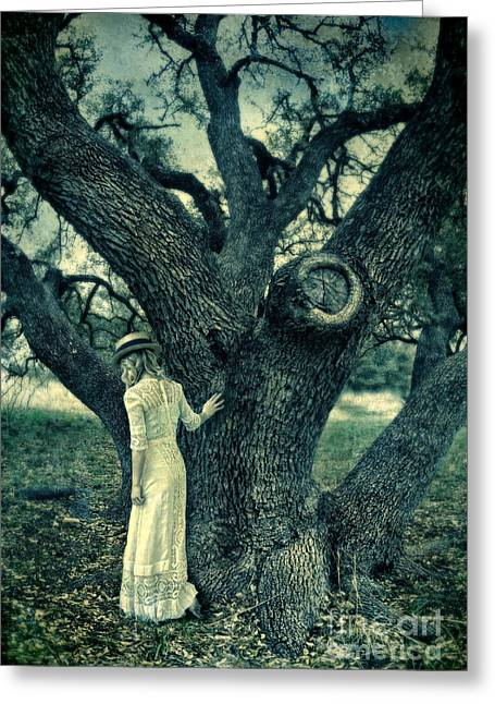 Edwardian Greeting Cards - Young Lady in White by Tree Greeting Card by Jill Battaglia