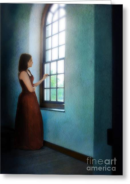 Young Teen Greeting Cards - Young Lady Looking Out Window Greeting Card by Jill Battaglia