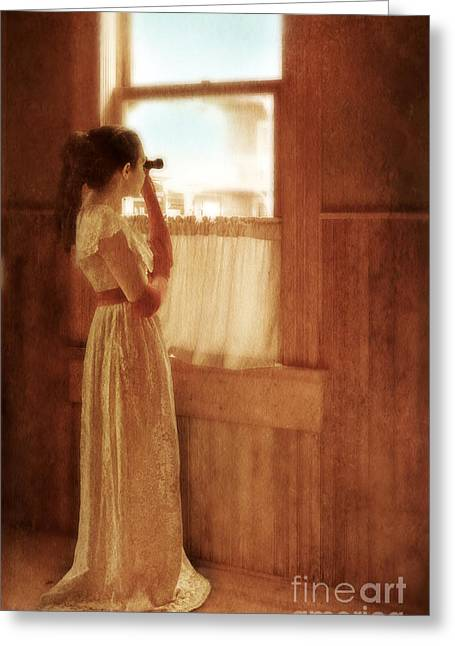 Female Spy Greeting Cards - Young Lady Looking Out Window with Binoculars Greeting Card by Jill Battaglia