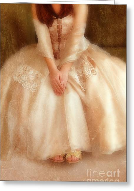 Ball Gown Greeting Cards - Young Lady Sitting in Satin Gown Greeting Card by Jill Battaglia