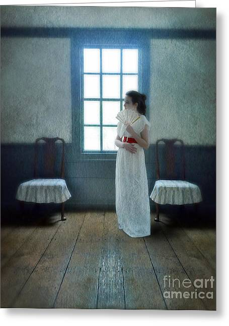 Young Teen Greeting Cards - Young Lady with Fan by Window Greeting Card by Jill Battaglia