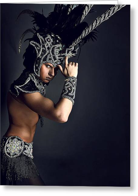 Young Man In Ritual Suit Of Pagan Priest. Greeting Card by Kireev Art