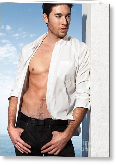Open Shirt Greeting Cards - Young Man in Unbuttoned Shirt Greeting Card by Oleksiy Maksymenko