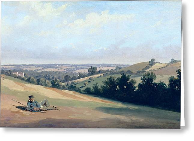 Herders Greeting Cards - Young Man Reclinging on the Downs Greeting Card by Theodore Caruelle d Aligny