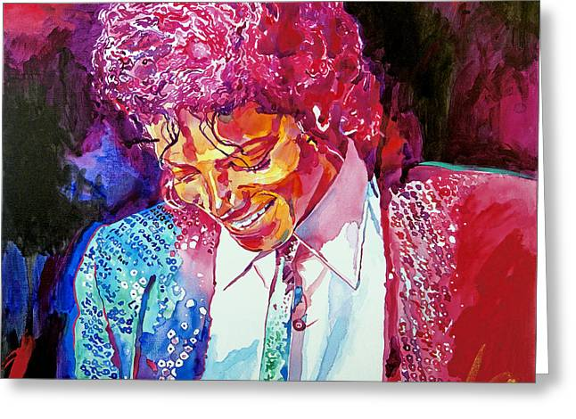 Celebrity Portrait Greeting Cards - Young Michael Jackson Greeting Card by David Lloyd Glover
