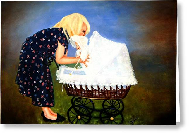 Girls Greeting Cards - Young Mommy Greeting Card by Joni McPherson