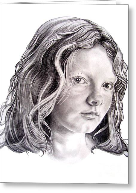Pencil Drawing Greeting Cards - Young Mona Lisa Greeting Card by Murphy Elliott