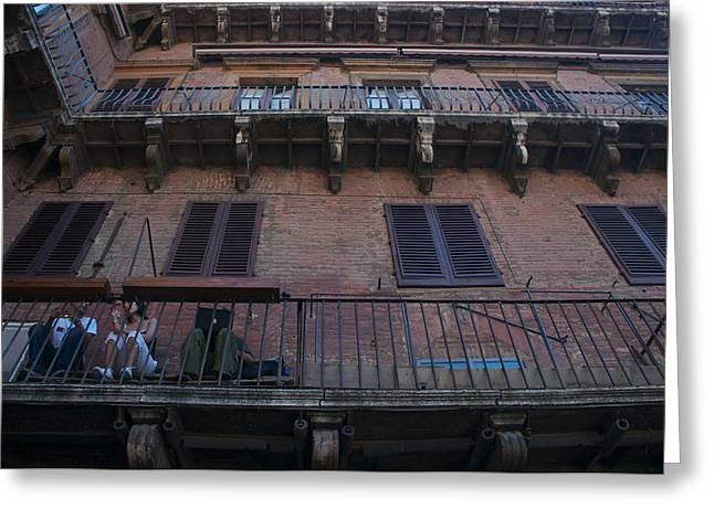Sienna Italy Photographs Greeting Cards - Young People Chat And Use A Laptop Greeting Card by Heather Perry